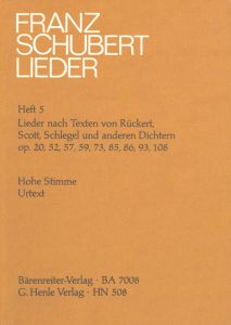 Songs with Lyrics by Rückert, Scott, Schlegel and other Poets